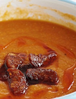 Chorizo provides a rich, smoky and warming flavour in this soup