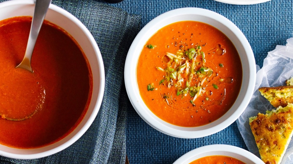Tomato soup and cornbread — the ultimate comfort food