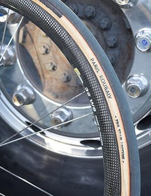 The handmade FMB tyres have the label marker penned out to prevent any sponsorship issues