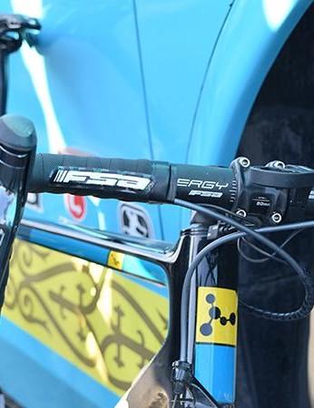 FSA provides Astana with the majority of the finishing kit, including the Energy handlebars