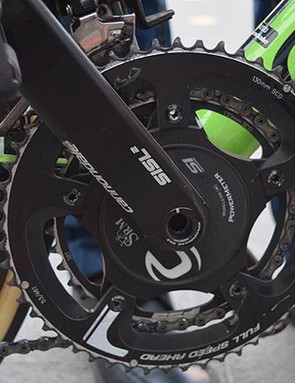 The Cannondale SISL crankset is equipped with a SRM powermeter