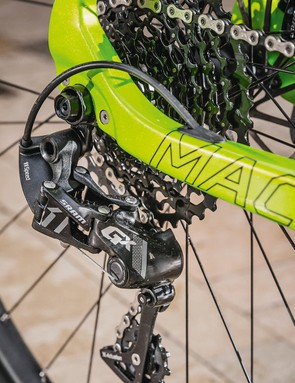 A SRAM GX1 groupset carries out shifting duties