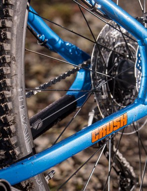 The thick single-piece dropouts show this bike is designed for a beating