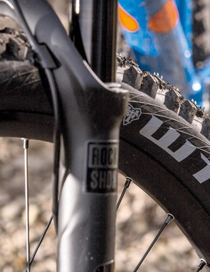 The front tyre is a WTB Vigilante with a High Grip compound
