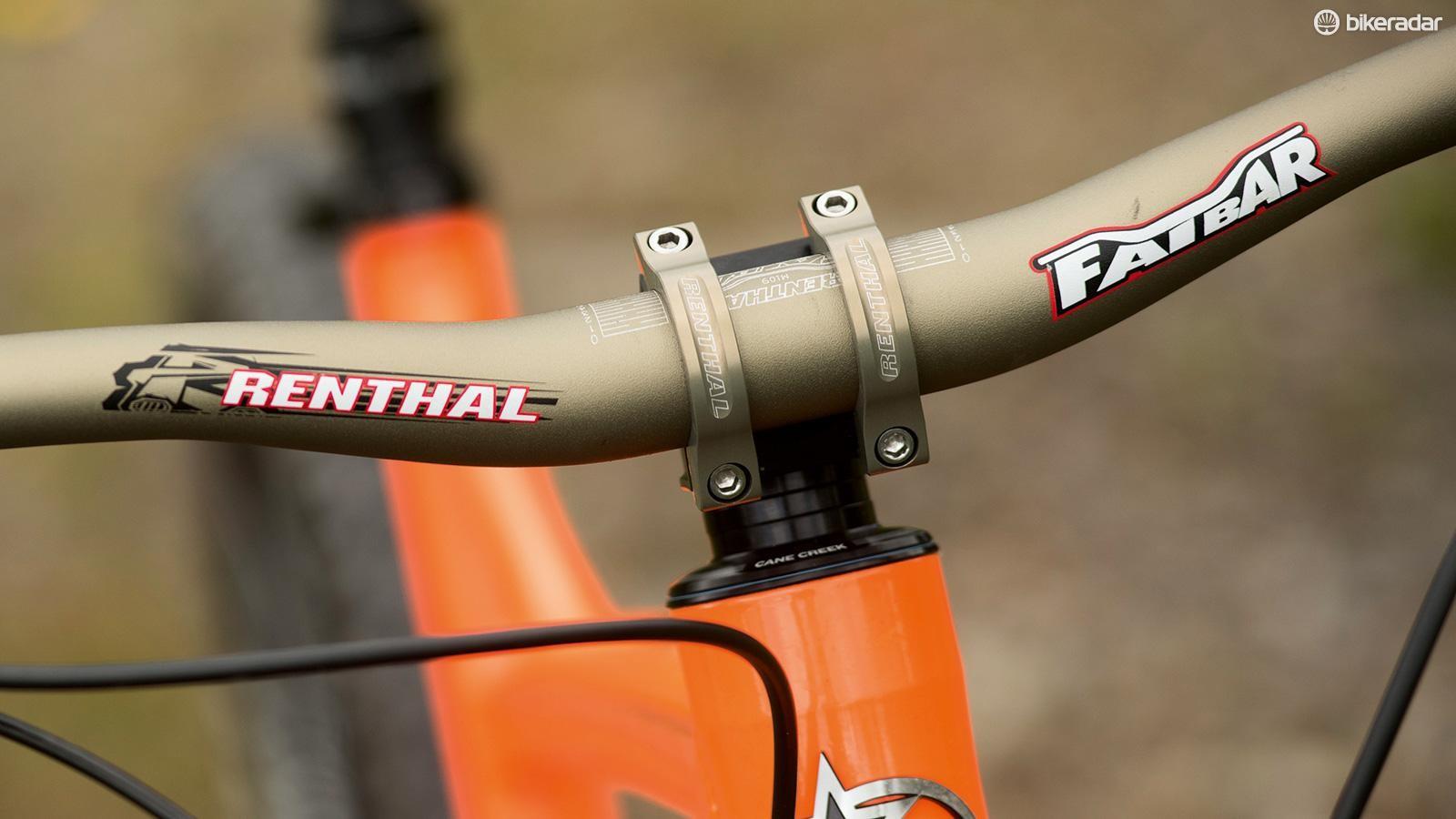 Some brands skimp on cockpit kit, but Orange provides a Renthal combo