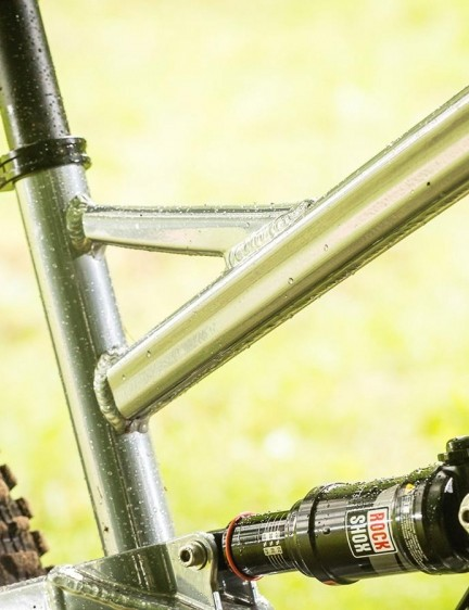 A new frame design gets rid of the curved toptube for this braced design
