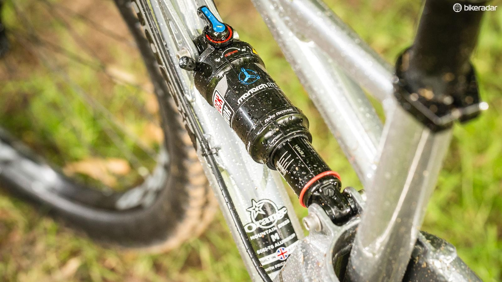 The RockShox Monarch RT3 shock has a short stroke but keeps the 110mm of travel under control
