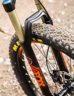 The 120mm travel Fox 32 fork easily bottomed out