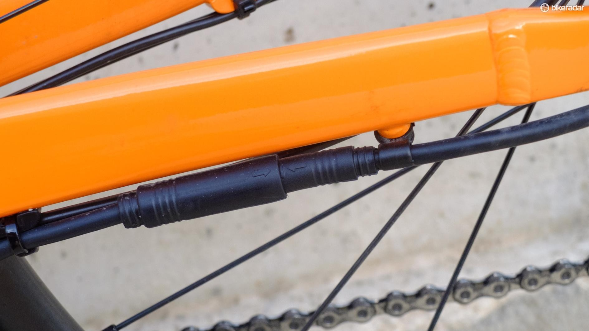 A small plug on the chainstay...