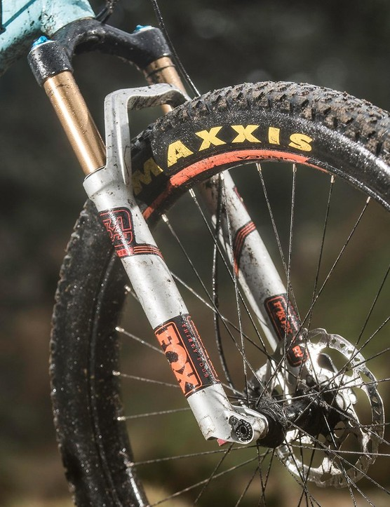 The Fox 34 fork should mean extra tracking precision up front – but only if the Maxxis tyre is gripping, not slipping