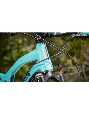 Adjustable geo means the head and seat angles can be slackened by half a degree and the BB lowered