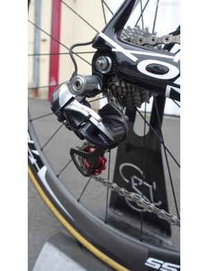 Like the entire Cofidis team, Soupe runs Dura-Ace derailleurs, with FSA pulleys installed on the rear. Soupe ran an 11-25 cassette