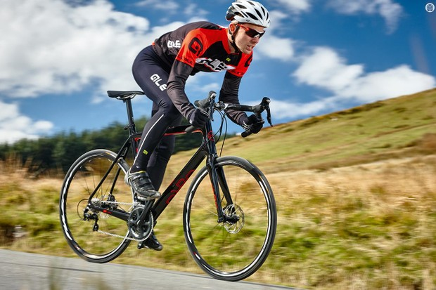 Orro's Pyro 105 disc has a fairly aggressive position for an endurance bike, but it's a comfy one