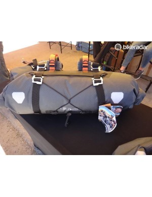 The German bag maker Orlieb debuted its new line of bikepacking bags at Sea Otter. Included are a handlebar roll, handlebar accessory bag and a seat pack. A frame bag is in the works. The waterproof Handlebar Pack sells for $130, uses a double strap system for mounting and accepts up to 15 liters of cargo