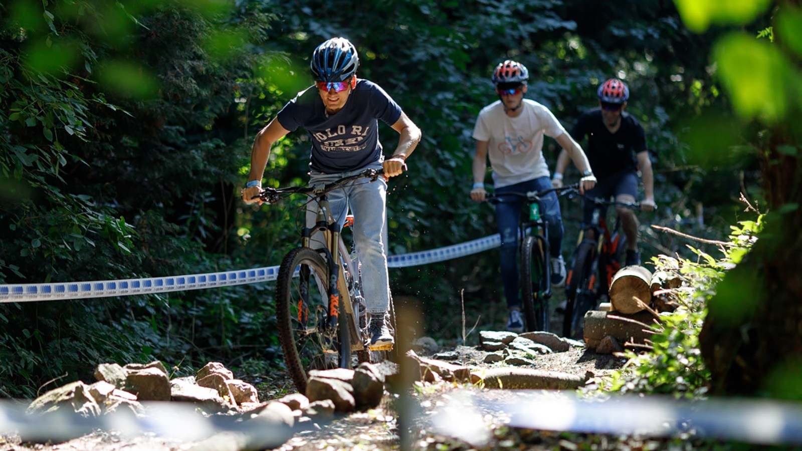 Ride a mountain bike on the singletrack loop at the MTB Bunker