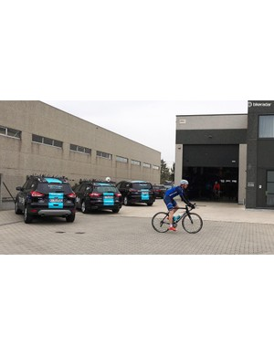 The team cars outside are some of the only signs of Team Sky's presence at the warehouse