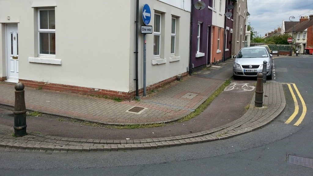 This path in Swindon thinks a parked car is the best way to greet a cyclist