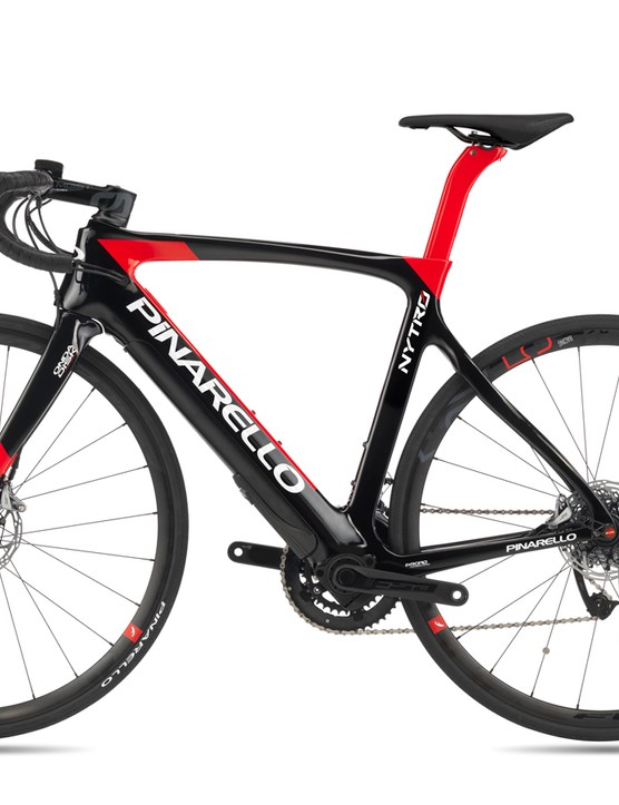The red and black launch colours looks like a classic Pinarello frame, with aerodynamic lines and an asymmetrical design