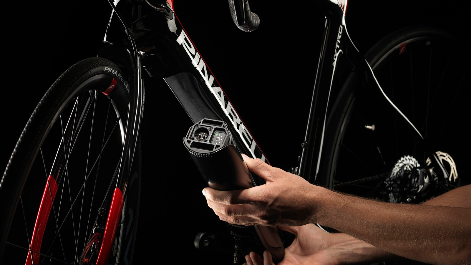 The battery and motor are neatly integrated into the frame's downtube