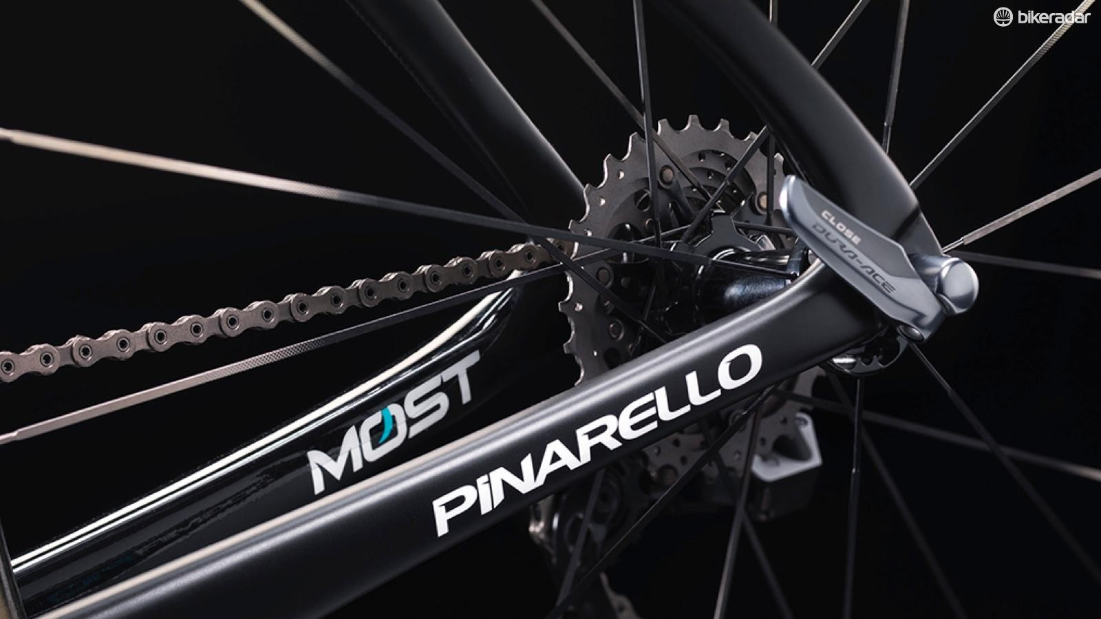 Pinarello and MOST (the brand's component wing) decals sit on the chainstays