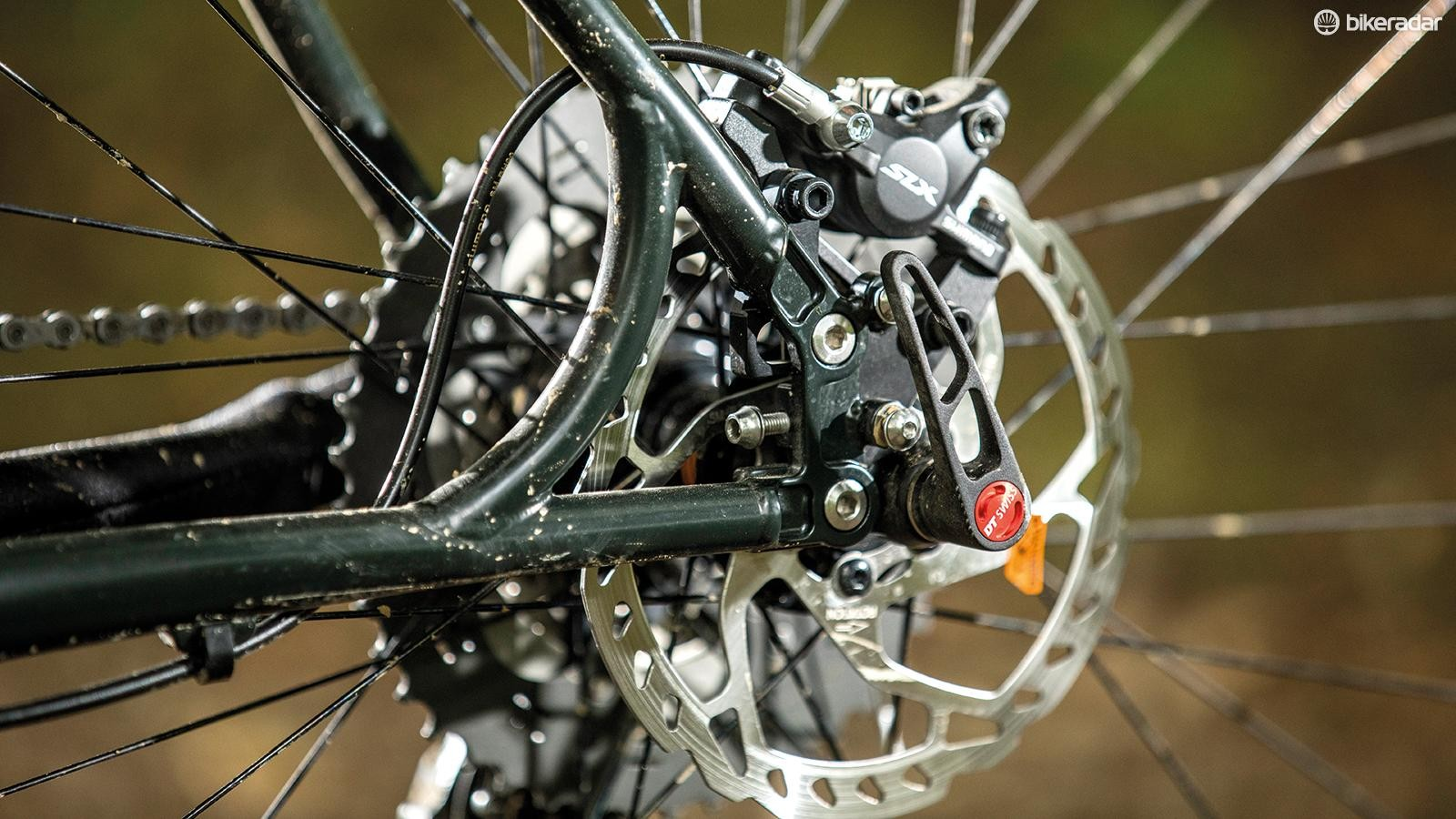 Braced stays carry Pace's 'Slideout' dropout system, in 148mm Boost width