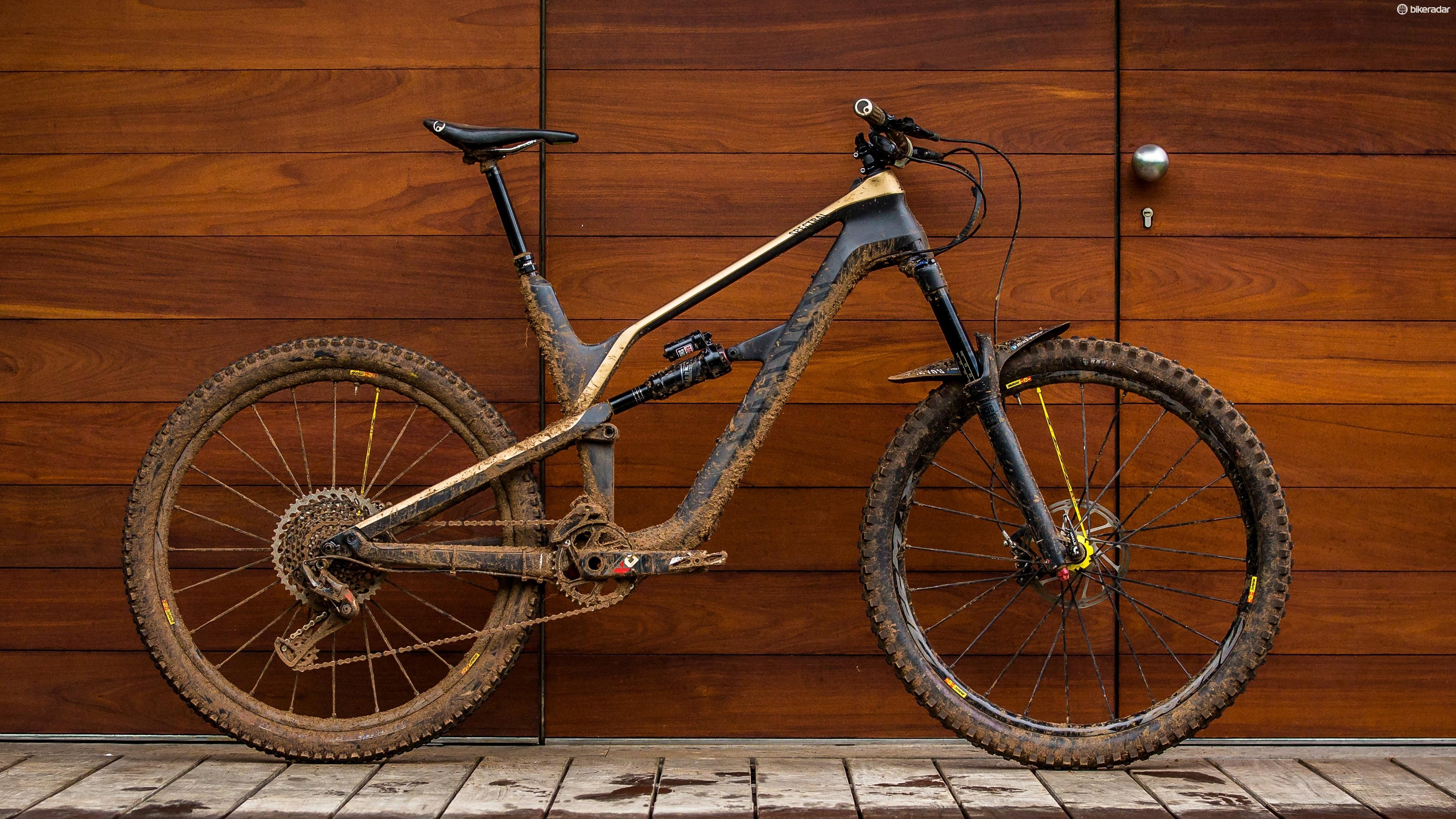 The Canyon Spectral only has 140mm of rear wheel travel, but this is enough for the Scottish EWS racer