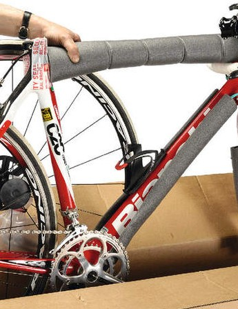 Regardless of what you're storing your bike in, styrofoam is a handy guard around tubes