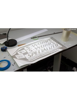 All the decals are printed in-house, and they've got pretty much every logo and font on file