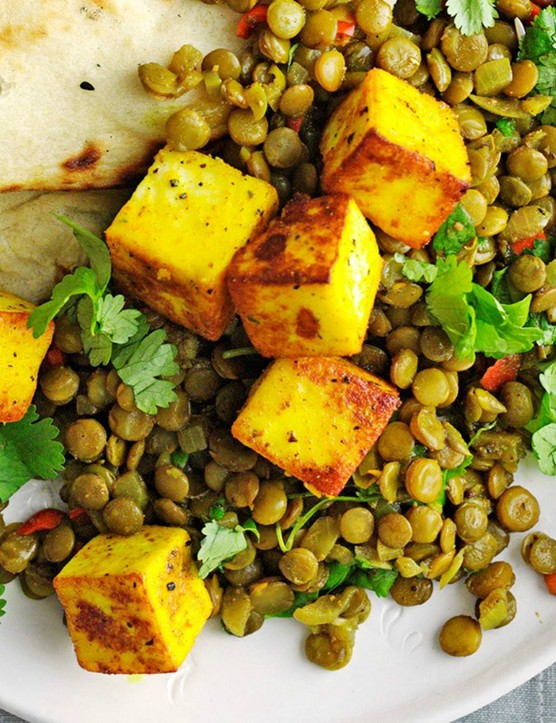Indian spices flavour this delicious paneer and lentil dish