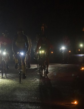 Riders set off at 5am along torch-lit roads