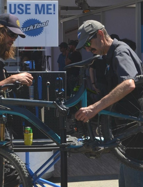No need to worry, longtime Park Tools' mechanic Calvin Jones (on right) has literally written the book on bike maintenance