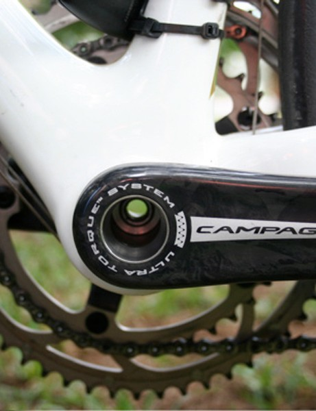 You can see right through! The Campagnolo Ultra Torque axle uses a hollow bolt.