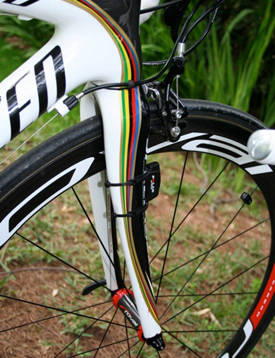 The frame's distinctive colours continue along Bettini's matching carbon monocoque forks.
