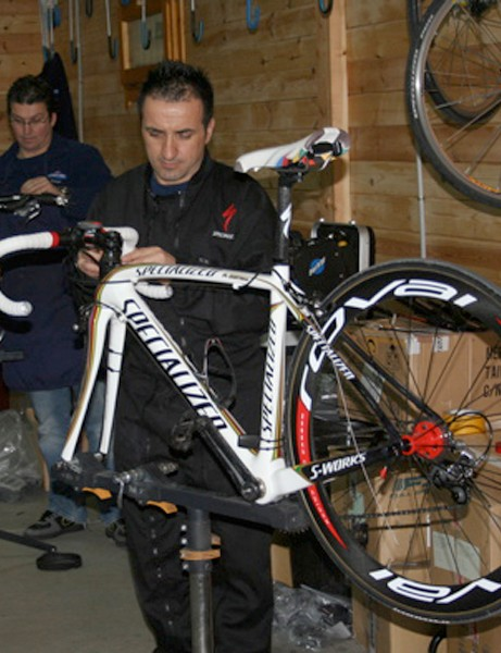 Quick.Step mechanics get the Olympic and world champion's bike ready for another day.