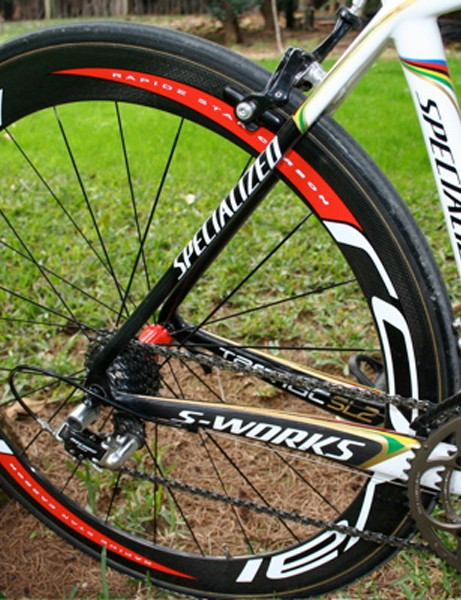 The rear end of Paolo Bettini's frame allows just enough room to fit the rear wheel.