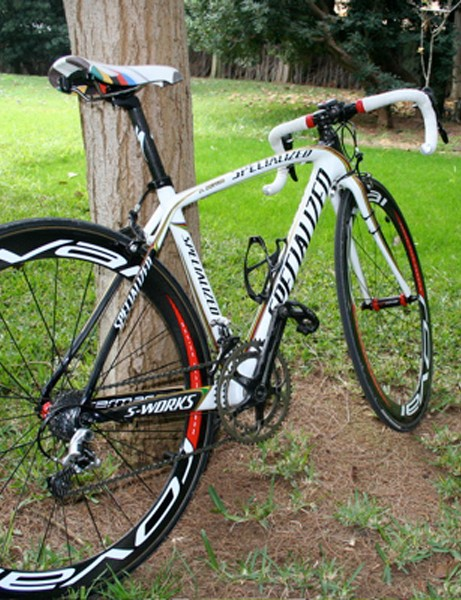 After a hard day on the road Bettini's Tarmac SL2 relaxes against a tree.