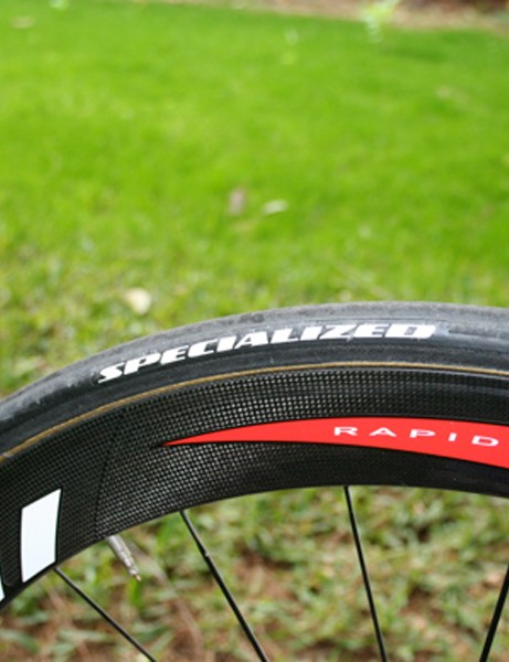 Bettini's tubulars feature a Specialized hot stamp (although we always wonder…)