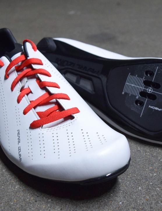 The Pearl Izumi Tour Road shoes are bright in white!