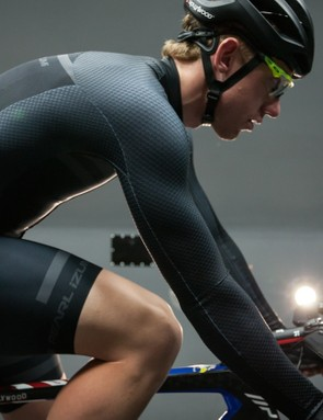 The Race Suit is basically a skinsuit with pockets that also zips and flaps open in the front like a jersey