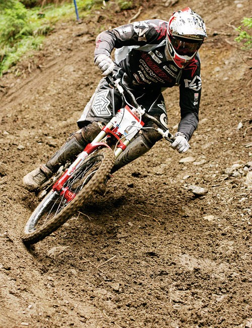 In action at the Mountain Bike World Championships at Fort William