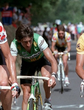 Pinarello won its first Tour de France with Pedro Delgado (right) in 1988