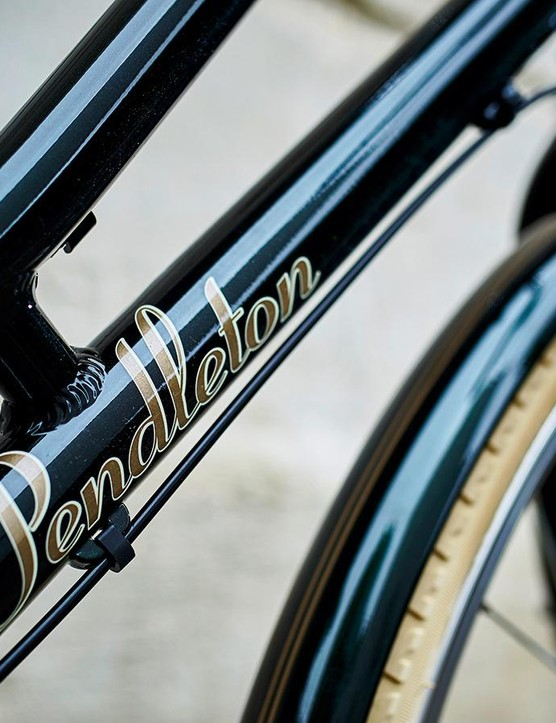 The alloy frameset comes in British racing green or gloss black