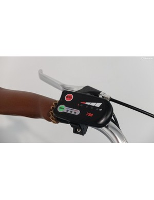 A simple button remote controls the motor