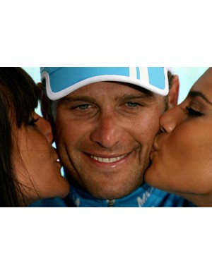 Alessandro Petacchi enjoys the traditional podium congratulations
