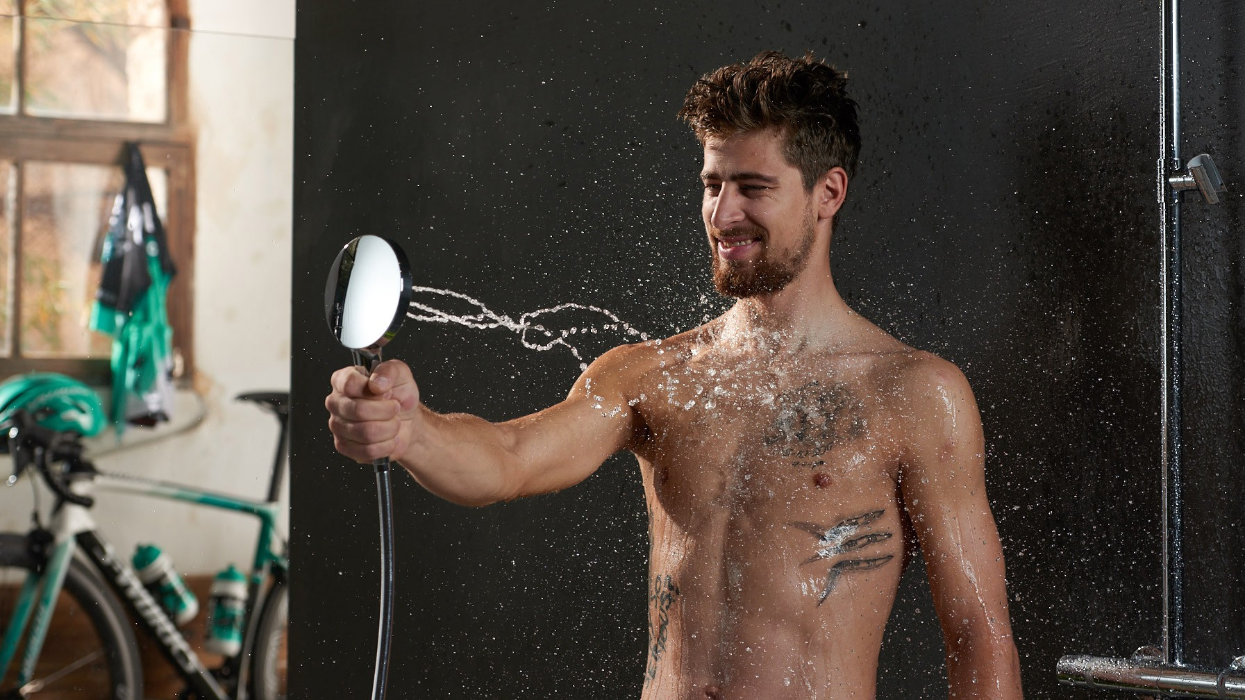 We're not sure if Peter Sagan understands showering