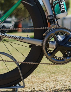 The bike is built around a Dura Ace 9170 Di2 groupset that is fitted with Specialized's own power meter