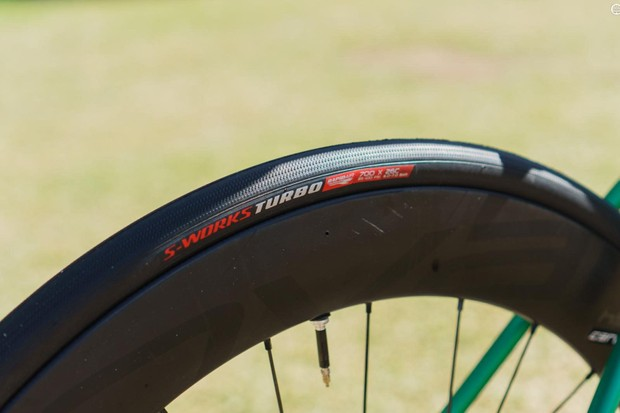 In another shift from convention, Sagan's bike is also set up with tubeless Specialized Turbo tyres in a 26mm width