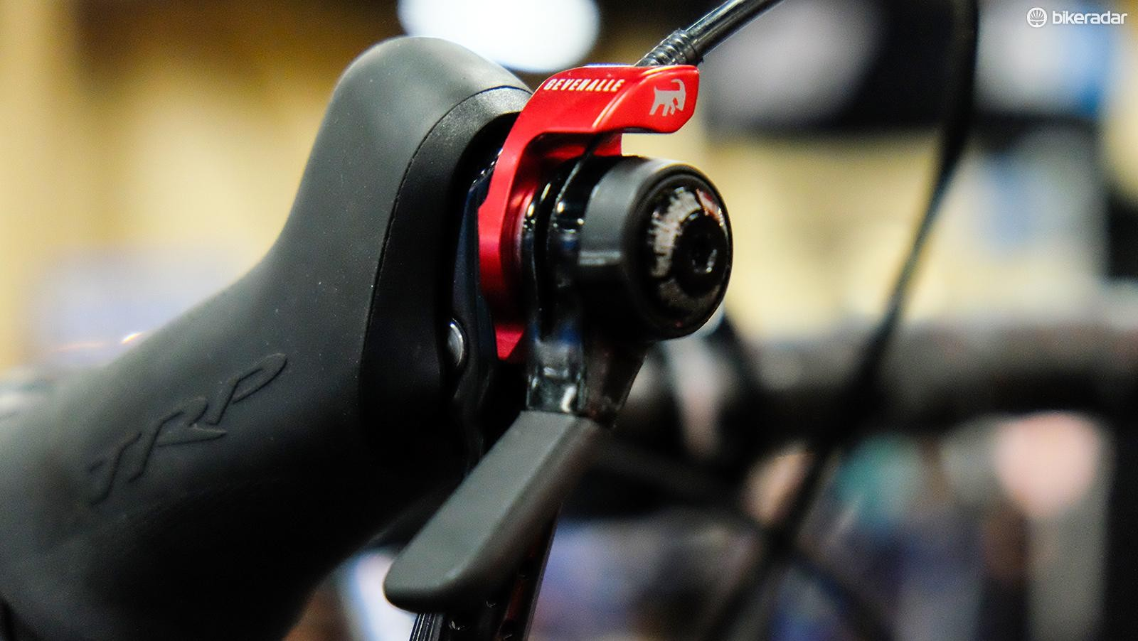 Friction shifting from a Genevalle shifter swings the derailleur across the 13-speed cassette