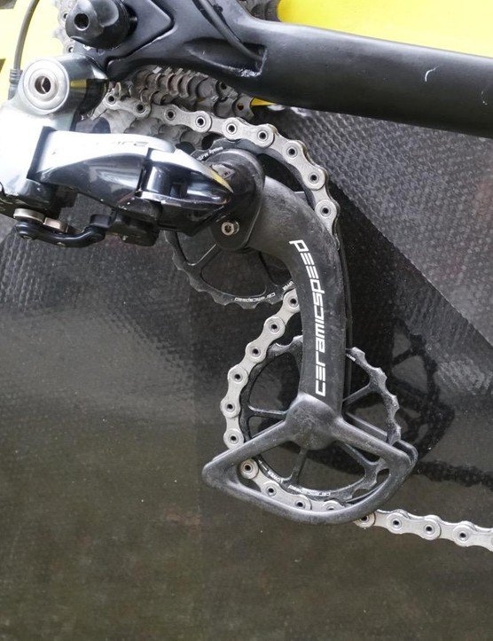 While big chainrings are for leverage, big pulleys are designed to improve efficiency by avoiding tight bends on the chain
