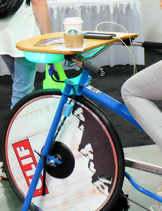 These pedal-powered charging stations were found throughout the venue